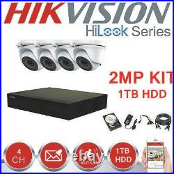 Hikvision Hilook Cctv Kit Box 4x Doom 2 Mp Hd Metal Camera System With 1tb Hdd