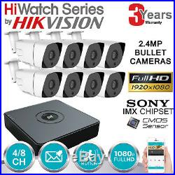 Hikvision Hiwatch Cctv System 4ch 8ch Dvr Bullet Night Vision Camera Full Kit Uk