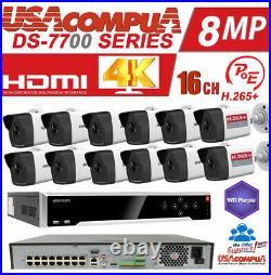 Hikvision NVR KIT 16Ch 12 bullet H. 265 Bullet POE Security Camera System/4TB HDD