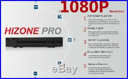 Hizone Pro CCTV HD 1080P 3.6mm Night Vision Outdoor DVR Home Security System Kit