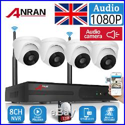 Home Security System Wireless 8CH IP Camera CCTV 1080P 1TB HDD Outdoor Audio Kit