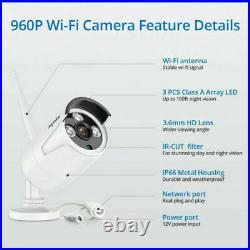 NEW SANNCE 8CH H. 264+NVR Wireless WLAN 1080p CCTV IP Camera Security System Kit