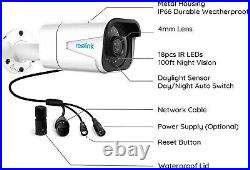 Reolink 4K HD Security Camera System 8CH PoE NVR 4 CAM 8MP Camera Kit RLK8-800B4