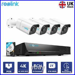 Reolink 4K PoE HD Security Camera System 8CH NVR 4 CAM 8MP Camera Kit RLK8-800B4