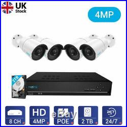 Reolink 4MP Security Camera System 8CH NVR 4x Wired PoE IP Camera Kit RLK8-410B4