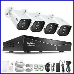 SANNCE 5MP CCTV POE System 4CH H. 264+ NVR Home Surveillance Camera POE Kit IP66