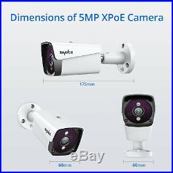 SANNCE CCTV 5MP PoE System 4CH H. 264+ NVR IP Metal Camera Security Kit IR Email
