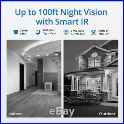 SANNCE WLAN Wireless Wifi 8CH NVR 1080P CCTV Camera System Security Kit IP66 IR
