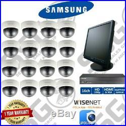 Samsung SCV-2080R Dome Cameras SRD-1684 DVR Night Vision Security CCTV Kit