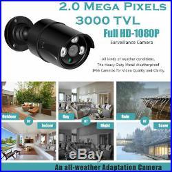 Smart 1TB/2TB 3000TVL 8 CH 2MP 1080P HD CCTV DVR Recorder Outdoor Cameras System