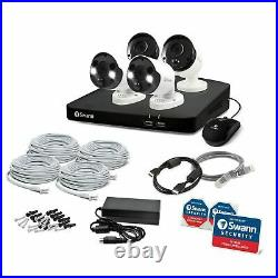 Swann NVR 8780 8 Channel 4K Recorder 2TB 4 x 887MSB/FB Hybrid Spotlight CCTV Kit