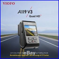 Viofo A119 V3 2KQuadHD +GPS 2019 Model Buffered Parking Mode+Hardwire Kit + 64GB