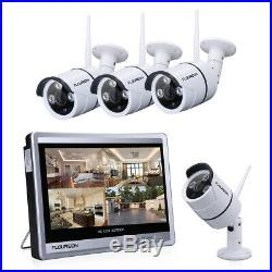 Wireless 12 LCD Monitor 8CH WiFi NVR 1080P IP CCTV Camera Security System Kit