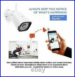 Wireless 4CH CCTV Security Camera System Kits 1080P NVR 2TB HDD Night Vision