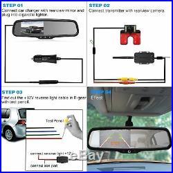 Wireless 4.3 LCD Car Rear View Mirror Monitor + Reversing Backup Camera Kit