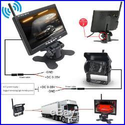 Wireless 7 Monitor Car Rear View System Backup Reverse Camera Night Vision Kit
