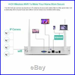 Wireless CCTV System 1080P 4 Camera Night Vision NVR Kit Outdoor Indoor Security