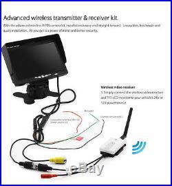 Wireless IR CCD Reversing Camera 4Pin + 7 Monitor Caravan Rear View Kit 24V 12V