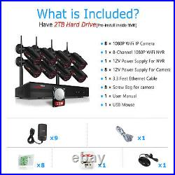 Wireless Outdoor Home Security Camera System CCTV Kit 8CH NVR 2TB Hard Drive P2P