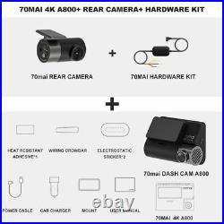 Xiaomi 70mai Smart Dash Cam 4K A800 + Rear Camera RC06 + Parking Hardware KIT UK