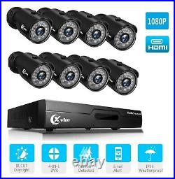 Xvim 1080P 8CH DVR+8X 2MP Metal Bullet Outdoor Cameras Kit Home Security System
