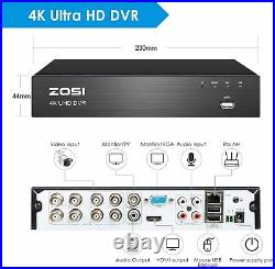 ZOSI 4K 8CH CCTV UHD DVR 8MP Security Camera System Kit Outdoor IP67 H. 265+Video