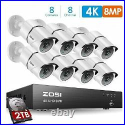 ZOSI 4K CCTV 8MP UHD DVR 2TB 8CH System Home Outdoor HD Security Camera Kit IP67