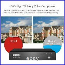 ZOSI 8MP CCTV 4K UHD H. 265+ DVR 8CH System Outdoor VIVID HD Camera Security Kit