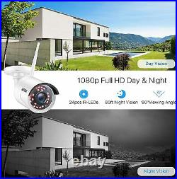 ZOSI Wireless CCTV System 1080P 8CH NVR Wifi IP Camera Home Security Kit 1TB HDD