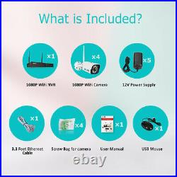 ZooHi 4CH Wireless 1080P NVR Wifi 2MP IP Camera CCTV Security System Kit Outdoor
